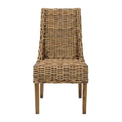 Safavieh Home Collection Oliver Walnut Wicker Armchair, Set of 2 - A high-backed woven chair is an unexpected choice for an office. The natural material provides texture in a room with white or light-colored furniture. A cute throw pillow can be added for additional comfort and interest.