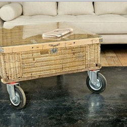 Pigeon Basket Coffee Table - I first discovered this amazing coffee table when interviewing Kelley Motschenbacher, who let me know that it was a repurposed French pigeon carrier coop. With the large casters on the bottom, it's a versatile piece you can move around with ease.