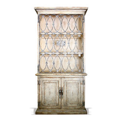 Wrought Iron Bookcase, French Blanc with Weathered Greys and Gold Leaf - Wrought Iron Bookcase, French Blanc with Weathered Greys and Gold Leaf