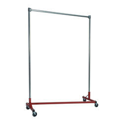Z Racks - Heavy Duty 5 ft. Z-Rack Garment Rack w 84 in. - Base Color: Red. 500lb capacity. 14 gauge, 60 in. Long steel base (Environmentally safe powder coated finish ). 16 gauge, 84 in. upright bars and hang rail. 1 5/16 outside diameter upright bars and hang rail. Grey non-marking soft rubber with TP center 4 in. casters. Made in the USA. 63 in. L x 23 in. W x 91 in. HWith 82 in. of vertical hang space, and 58 in. of horizontal space, this Z- rack boasts the extra room you need to expand. Because it is extra-tall, our Z-Rack is used by bridal shops, formal wear stores, church choirs and costumers alike. But that doesn�۪t mean it wouldn�۪t be perfect for your organizational needs. With a five foot base, seven foot uprights, and 500 lbs in load capacity, we think you�۪ll find it to be an all-purpose addition to any garage, basement or storage unit.