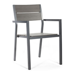 ZUO VIVA - Polestar Dining Chair Gray (set of 4) - The Muni Bench has a sturdy epoxy coated aluminum frame and a slatted faux wood seat.