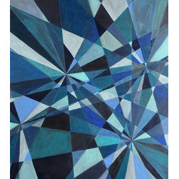 """""""Kaleidoscope In Blue"""" (Original) By Laura Makinen - This Is An Abstract Geometric Painting In Various Shades Of Blue And Bluish Green.  This Eye-Catching Piece Depicts Rays Emanating Out In All Directions. The Limited Palette Gives The Painting An Overall Feeling Of Cohesion, And The Various Geometric Shapes And Variety Of Darks And Lights Make For Great Movement. I Prefer The Composition Vertically, But It Definitely Works Horizontally As Well (24"""" X 34"""") Depending On The Room."""