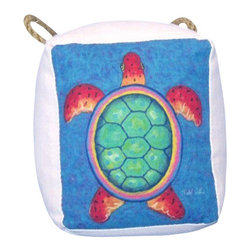 "Handcrafted Nautical Decor - Decorative Turtle Door Stopper 6"" - Nautical Door Stop - The Decorative Turtle Door Stopper 6"" allows you to show your affinity for sea animals and keep your door propped open. Beautifully hand stitched, this turtle door stopper is a great way to allow the a ray of light inside on a nice warm summer day. This is the perfect nautical gift for a relative, friend, or coworker. This door stop is fully functional and a great gift for the true nautical enthusiast in your life. This door stopper has a weight of 4 lbs."