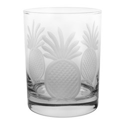 Rolf Glass - Pineapple DOF 14 oz., Set of 4 - Make yours a double, whether it's an actual cocktail or simply a glass of guava juice, it will taste better in these cut-glass double-old-fashioned tumblers. Pretty engraved pineapples lend a tropical feel.