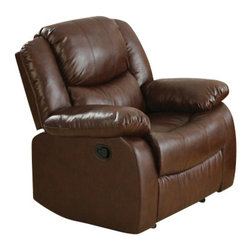 "Acme - Fullerton Brown Bonded Leather Standard Motion Recliner Chair - Fullerton brown bonded leather standard motion recliner chair with overstuffed seats and arms. This recliner features a bonded leather upholstery with a release latch on the side of the recliner, this is a manual recliner you need to push the footrest back to lock it in. Recliner measures 39"" x 37"" x 38""H. Some assembly may be required."