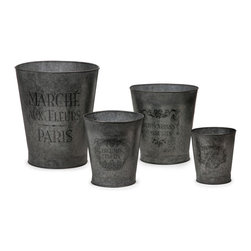 French Garden Pots - Set of 4 - This set of four galvanized garden pots feature elegant French writing and decorative accents.