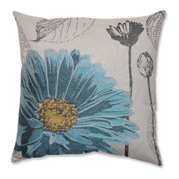 Pillow Perfect - Blue Chrysanthemum 18-inch Throw Pillow - Brighten up your home decor with this charming throw pillow. Featuring a stunningly embroidered blue chrysanthemum design, this pillow is the perfect way to bring a taste of the garden to any bedroom or living room.