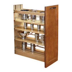 """Rev-A-Shelf - Rev-A-Shelf 448-BCSC-5C 5"""" Pullout Maple Base Cabinet Organizer - Store your kitchen items in style with this organizer that comes fully assembled and installs easily into an existing base cabinet. It operates smoothly and efficiently with concealed bottom mounted BLUM-Motion soft close slides, features three adjustable shelves with sharp looking chrome rails, and is built to last. Crafted from high-quality maple and finished with a clear UV coating, this handy kitchen product allows you to easily pull your cupboard out into your kitchen space to find what you're looking for. It's not uncommon for items to fall behind or underneath a drawer and become difficult - maybe even impossible to reach. That will no longer be a concern! The Rev-A-Shelf 448-BCSC-5C comes equipped with a rear wall that you can adjust to accommodate the size of your cabinet space. This feature is guaranteed to keep all of the items that you plan to store exactly where they belong. This pullout cabinet organizer is designed for full-height face frame base cabinets that measure 9"""" or 12"""" wide, and is easy to mount to virtually any door style thanks to the patented door mount brackets that provide up to 5 inches of flexibility. If you're looking for a practical, modern solution for your organizational needs, this base cabinet pullout unit is an excellent choice for your kitchen. Physical specifications: 5"""" W x 21-3/4"""" D x 25-1/2"""" - 29-1/2"""" H. Minimum Cabinet Opening Required: 5-1/2"""" W x 21-13/16"""" D x 25-10/16"""" H."""