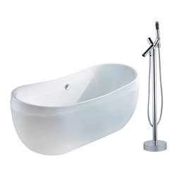 "AKDY - AKDY 67"" AK-ZF270 Euro Style White Acrylic Free Standing Bathtub w/ Faucet, 8711 - AKDY free standing acrylic bathtubs come in many styles, shapes, and designs. The acrylic material used for tubs is very durable, light weight, and can be molded into a variety of shapes and styles which explain the large selection available in this product category. Acrylic free standing tubs are a cost efficient way to give your bathroom a unique beautiful touch. A bathtub is no longer just a piece of cast iron metal thrown into a bathroom by a builder."