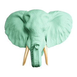 Wall Charmers - Wall Charmers Elephant in Mint + Gold Tusks | Faux Taxidermy Resin Fake Head Art - WALL CHARMERS FAUX TAXIDERMY ELEPHANT HEAD