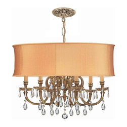 Crystorama - Crystorama Novella 1 Tier Chandelier in Olde Brass - Shown in picture: Ornate Cast Brass Chandelier Accented with Swarovski Spectra Crystal & Harvest Gold Shade; The Brentwood Collection from Crystorama offers a nice mix of traditional lighting designs with large tailored encompassing shades. Adding either the Harvest Gold or the Antique White shade to these best selling skus opens the door to endless possibilities.