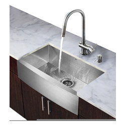 Vigo Industries - Single Kitchen Sink and 17 in. Faucet Set - Includes soap dispenser, matching bottom grid, sink strainer, all mounting hardware for faucet and hot-cold waterlines