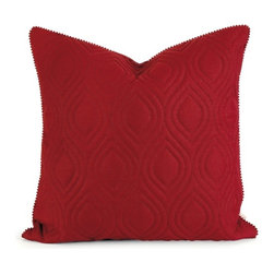 """IMAX - IK Kavita Red Linen Quilted Pillow w/ Down Fill - Iffat Khan has developed a luxurious collection of down pillows with quilted details and top ofeethe line fabrics. Iffates refined aesthetic is evident in her collection which combines clean modern, classic casual and timeless traditional styles with her own creative twist. Item Dimensions: (22""""h x 22""""w x 5"""")"""
