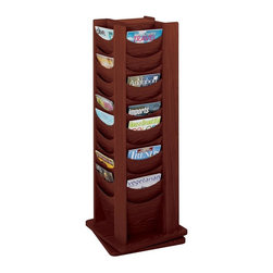 Safco - Wood Rotary Magazine Display Rack w 48 Pockets in Mahogany Finish - Rotates 360 degrees. Scoop design pockets. Forty-eight compartments. Wood stain finish. Made from hardboard and wood. No assembly required. Compartment size: 9.5 W x 0.75 in. D x 11 in. H. 17.75 in. W x 17.75 in. D x 49.5 in. H (75 lbs.)Expose the natural beauty of your literature, brochures, pamphlets and magazines. Whether it's for your guests in the reception area, waiting room, conference room, meeting areas, trade show booth, the lobby, foyer or entrance way or for your internal employees at a print station, lounge area, lunch or break room, mail room, supply room, classroom, media center, library or even your office, every piece of literature and magazine will have a perfect place to be displayed.