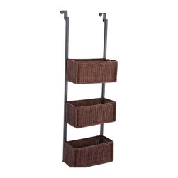 "Holly & Martin - Holly &Martin Hazel Over-the-Door 3-Tier Basket Storage-Espresso X-83-3-340-110 - Accent a room with convenient storage in a beautiful basket, or tuck it tidily away - it's up to you! The over-the-door, 3-tier basket storage unit is a must have for any home in need of convenient storage options. Why dig through the attic or closet, when you can utilize wasted storage space with a lovely over-the-door unit? With 3 rattan woven baskets, this unit is the perfect way to organize your craft items, linens, or accessories. It conveniently fits over most doors and can be displayed stylishly for easy to access items or face room interiors for more discreet storage. This 3-tier storage unit is perfect for craft room, bathroom, kitchen, or even closet! The simple, clean design makes it a great addition to any d&#233:cor. - FEATURES: - Convenient over the door hanging design - Includes 3 rattan woven storage baskets - Black and espresso finish - PRODUCT SPECIFICATIONS: - Over-door hooks: 6"" D - Baskets: 11.25"" W x 4.75"" D x 5"" H - Approx. weight: 9 lb. - Supports up to: 10 lb. (per basket) - Materials: metal tube, rattan - Assembly required - Overall: 12"" W x 8.25"" D x 38.25"" H"