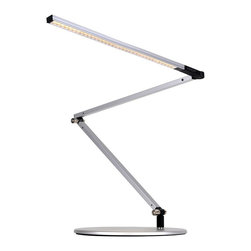 Koncept - Koncept Z-Bar Slim LED Desk Lamp w/ Base, Warm Light, Silver - AR3200-WD-SIL-DSK - Z-Bar Slim is the sleek and slim version of the original Z-Bar. Featuring the award-winning three-bar design for maximum reach and flexibility, Z-Bar Slim also has the super-adjustable LED head that can spin in its socket, sweep side to side, and rotate around the end of the arm to point in any direction. Slide your finger along the touch strip to dim gradually, or touch the strip anywhere to jump directly to any brightness, including off. Compatible with optional occupancy sensor.