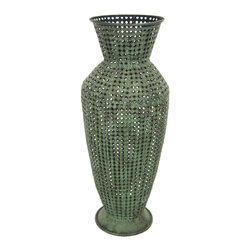 Oriental Furniture - Wrought Iron Perforated Green Vase - This two and a half foot wrought iron vase is just what you need to decorate your yard! Finished with a rust patina that is both weatherproof and fashion forward, this can be placed amidst flowers and trees to add a classic time honored element to your garden.