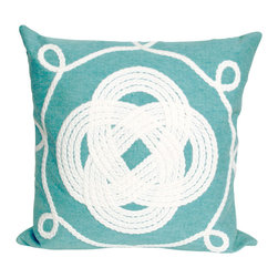 """Trans-Ocean Inc - Ornamental Knot Aqua 20"""" Square Indoor Outdoor Pillow - The highly detailed painterly effect is achieved by Liora Mannes patented Lamontage process which combines hand crafted art with cutting edge technology. These pillows are made with 100% polyester microfiber for an extra soft hand, and a 100% Polyester Insert. Liora Manne's pillows are suitable for Indoors or Outdoors, are antimicrobial, have a removable cover with a zipper closure for easy-care, and are handwashable.; Material: 100% Polyester; Primary Color: Aqua;  Secondary color: white; Pattern: Ornamental Knot; Dimensions: 20 inches length x 20 inches width; Construction: Hand Made; Care Instructions: Hand wash with mild detergent. Air dry flat. Do not use a hard bristle brush."""