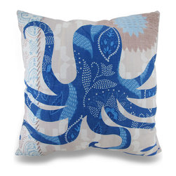 Zeckos - Barrier Reef Octopus Ocean Themed Indoor / Outdoor Throw Pillow - Now you can beautifully accent your home inside or out in awesome ocean style with this striking blue and tan octopus throw pillow that's perfect for your living room sofa, the Adirondack chair on the patio or the chaise lounge in your garden oasis. The 100% polyester cover is water repellent and it's filled with 100% polyester fiber. Measuring 18 inches high by 18 inches long (46 cm by 46 cm), it would look amazing by a pool area, in your cottage or just tossed on the bed, and features a stylized octopus on both sides. It is recommended to dry clean or spot clean only. This bright and cheerful throw pillow would make an excellent housewarming gift for any octopus fans!