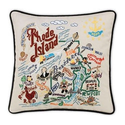 CATSTUDIO - Rhode Island State Pillow by Catstudio - Celebrate the states! These pillows from Catstudio's Geography Collection are delightful keepsakes for remembering the hometown you grew up in or commemorating your favorite vacation spot. Embroidered entirely by hand (over 35 hours go into each one!) with black velvet piping, these make the perfect gift for all occasions! Removable cotton cover and polyfill pillow form. Cover is dry clean only.