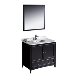 """Fresca - Oxford 36"""" Espresso Traditional Vanity Cascata Chrome Faucet - Blending clean lines with classic wood, the Fresca Oxford Traditional Bathroom Vanity is a must-have for modern and traditional bathrooms alike.  The vanity frame itself features solid wood in a stunning espresso finish that?s sure to stand out in any bathroom and match all interiors.   Available in many different finishes and configurations."""