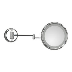 WS Bath Collections - Lucciolo 20-2 Magnifying Mirror 3x with Incandescent Lamp - Lucciolo 20-2 x3 by 9.5 Dia. x 18.1 Extension Magnifying Mirror, with Incandescent Lamp, Hard Wiring Direct Power Supply, in Chromed Plated Brass and Anodized Varnished