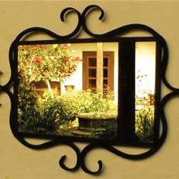 Iron Mirror Frame with Curved Details -