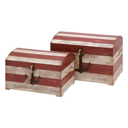 Benzara - Wood Trunk with Anchor Figurine and Rope Handle- Set of 2 - Keeping your bedroom neat and tidy is easy with these wooden trunks. You can make your bedroom look spacious with these wooden trunks. These trunks are well-spaced and can accommodate all your reading material and essentials. These trunks have an anchor figurine affixed in the front, and look crafty and artistic. They are fashioned with rope handles on the front and the sides. The rope handles augment its rustic appearance. They have wooden cups fastened to the bottom to secure the position when placed on a slippery surface. The trunks display a striped red and white tinted pattern. These wooden trunks can be gifted to people having a penchant for maritime collectibles. The trunks have a neat wooden construction and flaunt fine detailing. They are a perfect gifting option for your beloved.