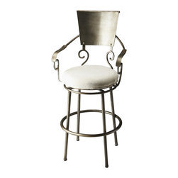 Butler Furniture - Madrid Metal Revolving Bar Stool - With its lovely looping curves and soft ivory seat, this bronze bar stool is one pretty perch. Sturdily constructed and luxurious cushioned, it makes an elegant statement wherever you put it.