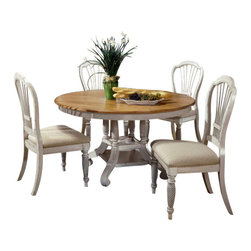 Hillsdale Furniture - Hillsdale Wilshire 5-Piece Round Dining Room Set w/ Side Chairs in Antique White - The Wilshire collection features a blend of cottage styling with country accented details. The blend of Americana and English country gives the Wilshire collection a look and feel that will enhance any home. The craftsmanship is evident in each piece. Opening a drawer is a reflection of old world craftsmanship, complete with tongue and groove drawer bottoms, English dovetail drawer construction and thick solid wood drawers. Finishes have been painstakingly applied to give years of enjoyment.