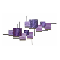 Alisa Diva - Two Piece Jumbo Power of Purple Passion Wooden Wall Sculpture - Two bountifully sized pieces form this exciting and alluring abstract wall sculpture. Bold purple is accentuated with lighter shades of violet, lavender and white for a stunning visual that will look great anywhere you choose to hang it. Meticulously crafted by hand and handpainted with fine lacquers for a glossy finish that endures