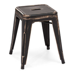 ZUO - Marius Stool - In red, white, gunmetal or antique black, the Marius Stool is the burnished god of randomly useful furniture. Sturdy yet elegant, you can put it at your bed side. Or keep it in your kitchen as a hip step stool.