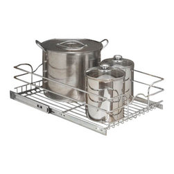 "Rev-A-Shelf - Rev-A-Shelf 5WB1-1222-CR 12"" Single Pullout Wire Basket with 22"" Slides - Chrome - Organizing your kitchen cabinets can be a challenge if you are short on space. Additionally, trying to find items within cluttered cabinets can be equally challenging, especially if the items happen to be way in the back of your cabinets. The Rev-A-Shelf 5WB1-1222-CR Single Pullout Chrome Wire Basket is the perfect way to resolve issues with organization and functionality in your kitchen. This unit is sure to help with reducing clutter in your cabinets and will also create more functional storage space for a variety of items including pots and pans. Featuring 100lb rated full-extension slides and a heavy duty wire frame construction, this unit is built to last. And the full-extension slides bring those hard to reach items right to you, no more digging! The entire pullout unit comes fully assembled and installs to the bottom of your cabinet with just four screws. Size Specifications: 11-3/8"" W x 22"" D x 7"" H. Please make sure you have a minimum cabinet opening of at least 11-1/2"" W x 22-1/8"" D x 7-1/8"" H to ensure a proper fit."