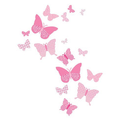 "FunToSee - Vintage Butterfly Wall Decals, Pink - Butterfly wall decals filled with vintage patterns in shades of pink. Butterfly decals measure 2.5"" - 10"" wide. Decorate a little girl's nursery, bedroom or playroom with these very pretty Butterfly Wall Decals from FunToSee. Design a beautiful feature wall of fluttering butterflies or use the decals to theme girl's bedroom furniture. Stunning on their own as a stylish touch to nursery walls, or co-ordinate with FunToSee's matching 'Pink Collection' - Alphabet or Pennant wall decals available. FunToSee butterfly wall decals can also be repositioned, and they can be wiped clean with a soft damp cloth. When you are ready for a new look, the butterfly decals peel off easily and cleanly. A great decorating idea to bring a playroom to life, or design a beautiful butterfly nursery wall feature. FunToSee children's wall decals are proudly made in the UK. FunToSee was founded in 2001 by a mum looking for something imaginative and yet simple to use to decorate her first child's nursery. Over a decade later FunToSee have become a trusted and recognized nursery wall decor brand all over the world. Instructions: Simply open the nursery wall decal kit, peel off a decal and apply the wall decal to a clean, dry and flat surface. Use a soft cloth to smooth over the entire nursery decal image, especially the decal edges. To reposition or remove the decal from nursery walls, peel the decal off the wall slowly. Stick the decal back onto the nursery decal backing sheet to store for future use or when moving the nursery decal to a new location."