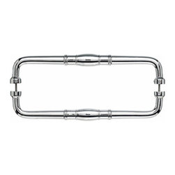 "Top Knobs - Normandy Back to Back Door Pull - Polished Chrome - Length - 19"", Width - 1 1/8"", Projection - 2 1/4"", Center to Center - 18"", Base Diameter - 1"""