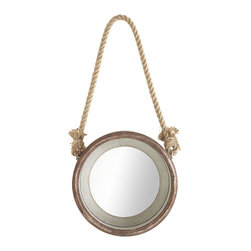 Hanging Porthole Mirror - I love the texture the rope adds to this porthole mirror.