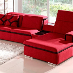 Zuri Furniture - Red Indigo Fabric Sectional Sofa - Right - A funky twist on a familiar design, Indigo contemporary sectional has stylish detailing, hidden under seat storage, and comfortable, adjustable headrests. Available in color shown only.