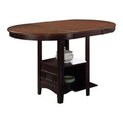 Adarn Inc - Storage Counter Height Leaf Pub Dining Table w/Veneer Top, Light Oak/ Espresso - Magnify the trendy contemporary look of your casual dining area with this slick counter height table. It features a storage base with a sunburst veneer top. Utilize the regular included 18 inch leaf to expand the table top to a generous 60 inches.