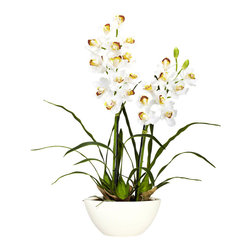 Nearly Natural - Cymbidium with White Vase Silk Flower Arrangement - Let's talk springtime, shall we? Well, that'll be the feeling whenever you gaze upon this warm, inviting Cymbidium w/ white vase silk flower arrangement. With an array of soft blooms, set amidst the wispy stems, you'll be thinking springtime freshness no matter what season it is. Comes complete with a white vase that perfectly accentuates the floral beauty.