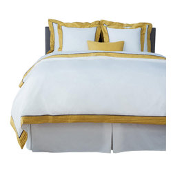 LaCozi - LaCozi Sateen Mustard Pintuck Duvet Cover Set - 1100 thread-count Sateen Duvet Set Includes: