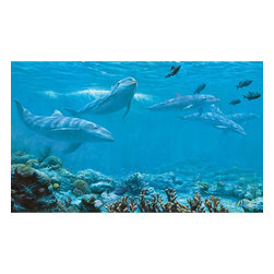 York Wallcoverings - Dolphins Giant Wallpaper Accent Mural - Features: