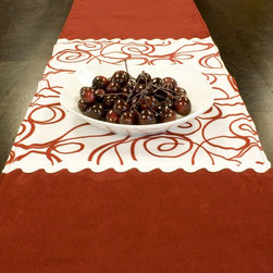 Chooty & Co. - Chooty and Co Passion Suede Cinnabar Joker Scarlet Table Runner Multicolor - RPL - Shop for Runners from Hayneedle.com! The Chooty and Co Passion Suede Cinnabar Joker Scarlet Table Runner is a fun and festive addition to your table or buffet. This table runner is made of 100% polyester suede in a festive red. Its winter white with red swirl design panel adds holiday cheer. Hand- or spot-clean for lasting beauty.About Chooty & Co.A lifelong dream of running a textile manufacturing business came to life in 2009 for Connie Garrett of Chooty & Co. This achievement was kicked off in September of '09 with the purchase of Blanket Barons well known for their imported soft as mink baby blankets and equally alluring adult coverlets. Chooty's busy manufacturing facility located in Council Bluffs Iowa utilizes a talented team to offer the blankets in many new fashion-forward patterns and solids. They've also added hundreds of Made in the USA textile products including accent pillows table linens shower curtains duvet sets window curtains and pet beds. Chooty & Co. operates on one simple principle: What is best for our customer is also best for our company.
