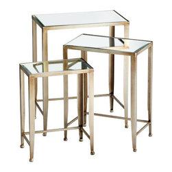 "Cyan - Harrow Nesting Tables - - 3 Pieces: - Small: 13.5""x8.5""x18.75"" - Medium: 16.25""x10.25""x21.75"" - Large: 19""x12""x24.25""- Weight: 30.45 lbs."
