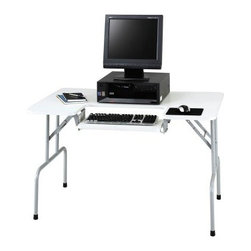 Safco Folding Computer Table - 47 in. - Designed to fit into almost any space the Safco Folding Computer Table - 47 in. folds down to a mere 5.35 inches for easy mobility and storage. Perfect for anyone with limited space this folding computer table features a unique keyboard shelf which can be adjusted to six different positions by height and tilt so you don't have to sacrifice comfort for convenience. Able to hold CPUs up to 19 inches deep this computer table has a modern white desktop with silver legs that matches almost any decor. This table will arrive at your home already assembled and include a limited lifetime warranty. Additional Features Comes fully assembled Limited lifetime warranty About Safco ProductsSafco products were specifically developed to meet the changing needs of the business world offering real design without great expense. Each product is designed to fit the needs of individuals and the way they work by enhancing comfort and meeting the modern needs of organization in the workplace. These products encourage work-area efficiency and ultimately work-life efficiency: from schools and universities to hospitals and clinics from small offices and businesses to corporations and large institutions airports restaurants and malls. Safco continues to offer new colors new styles and new solutions according to market trends and the ever-changing needs of business life.