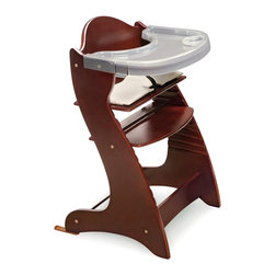 Badger Basket - Badger Basket Embassy Adjustable Wood High Chair with Tray - Cherry Multicolor - - Shop for Highchairs from Hayneedle.com! The Badger Basket Embassy Adjustable Wood High Chair with Tray - Cherry will serve the whole family! It's perfect for babies about 6 months old or who can sit unassisted but that's not all. It can be used as a chair for adults up to 175 pounds! Modern and sleek this high chair is constructed of poplar wood in a natural finish. It features a nylon cushion with a cotton/poly cover that can be tossed in the washing machine. The chair comes with two trays and a harness to keep baby secure. Its easily assembled with a simple Allen wrench and the seat is adjustable in height. Also included is a glide extension component to use with certain tables. The Badger Basket Embassy Adjustable Wood High Chair with Tray is a hip high chair for your hip little baby. Badger Basket CompanyFor over 65 years Badger Basket Company has been a premier manufacturer of baskets bassinets bassinet bedding changing tables doll furniture hampers toy boxes and more for infants babies and children. Badger Basket Company creates beautiful and comfortable products that are continually updated and refreshed bringing you exciting new styles and fashions that complement the nostalgic and traditional products in the Badger Basket line.