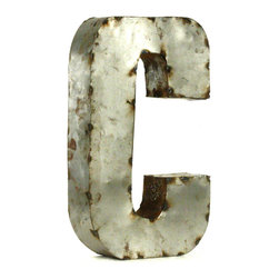 "Kathy Kuo Home - Industrial Rustic Metal Small Letter C 18""H - Create a verbal statement!  Made from salvaged metal and distressed by hand for an imperfect, time-worn look."