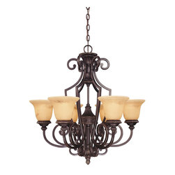 Savoy House Lighting - Savoy House Lighting 1P-50201-6-16 Knight Traditional Classic Chandelier - Rich details and classic styling accentuate the Knight collection from Savoy House. The bold lines are enhanced by a rich Antique Copper finish and Antique Marble glass.