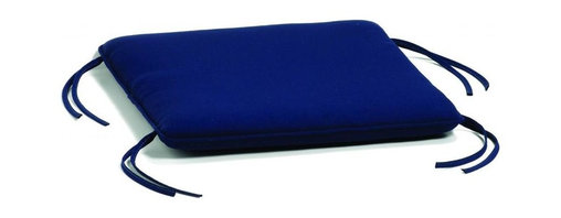 Oxford Garden - Siena Ottoman Cushion, Navy - Add comfort and style with our specially designed cushions.  All of our cushions are made of Sunbrella fabric.  Developed from 30 years' experience with awnings and boat, Sunbrella is made of durable, all weather solution-dyed acrylic.  Each cushion has ample length ties to keep your cushion in place even during those gusty days.  Single piping provides a clean looking finished edge.  Sunbrella feels soft and comfortable to the touch but is rugged outdoors.  It retains its color and strength while withstanding years of exposure to sunlight and rain. Quick drying, mold and mildew resistant, fire retardant throw pillow.