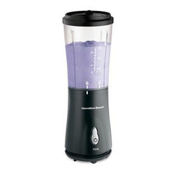 Hamilton Beach - Single Serve Blender Black - Great for home or travel use, this Hamilton Beach personal blender with Stainless Steel blades features one-touch blending and is great for fruit smoothies, icy drinks, shakes and more. Comes with drink-from travel lid and fits in most car drink holders. Black.