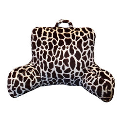 None - Giraffe Faux Fur Bedrest and Lounger - Have a comfortable resting place anywhere with this faux fur bedrest/lounger. Made from polyester, this lounger has double-sided arms and a high back that will give you comfortable support. A fun giraffe print adds some playful style.